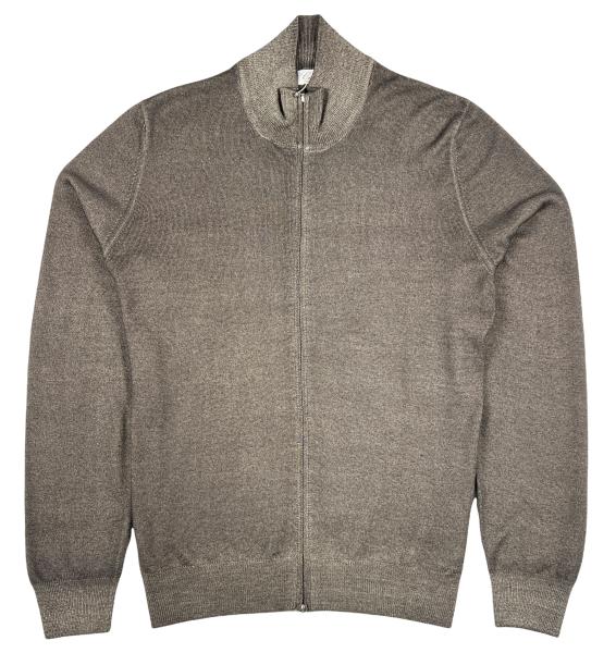 Cellini Wool Zip Cardigan - Taupe