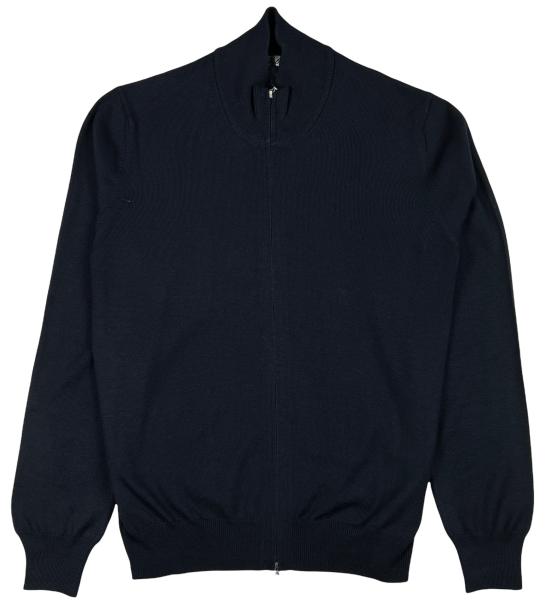 Cellini Wool Zip Cardigan - Dark Blue