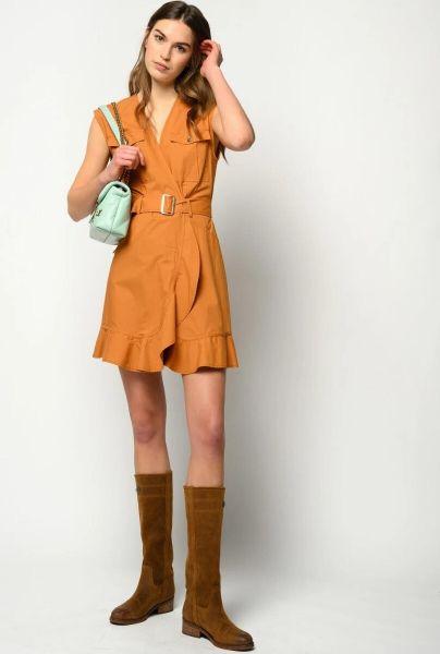 Pinko Attivo Dress in Popeline - Caramel