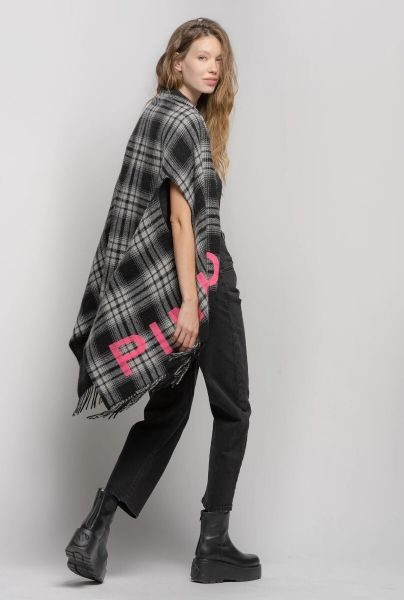 Pinko Poncho Scarf In Checkered Pattern