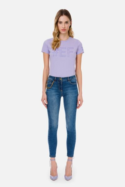 Elisabetta Franchi Skinny Jeans With Aged Gold Charm - Vintage Blue