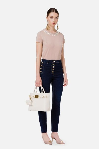 Elisabetta Franchi Skinny Jeans with Gold buttons - Blue