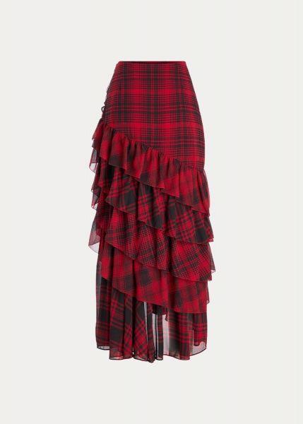 Ralph Lauren Ruffled Tartan Plaid Miniskirt