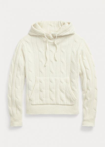 Ralph Lauren Cable Knit Wool Cashmere Hoodie - Cream