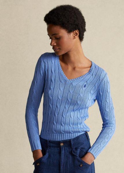 Ralph Lauren Cable Knit V-neck Sweater - Pale Blue