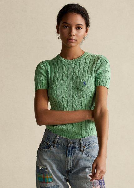 Ralph Lauren Short Sleeve Cable Knit - Bud Green