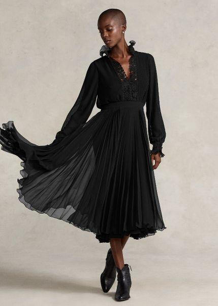 Ralph Lauren Lace Trim Pleated Georgette Dress
