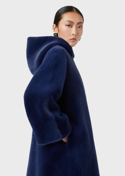 Emporio Armani Hooded Faux Fur Coat - Blue