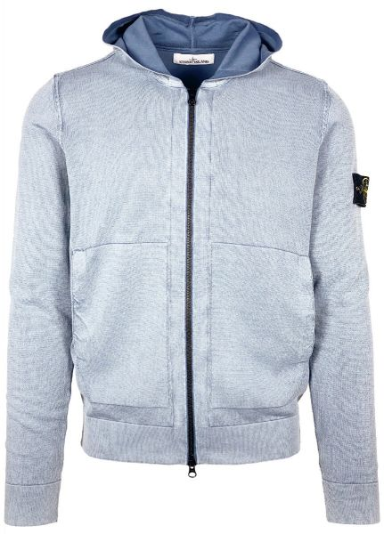 Stone Island White Frost Hooded Cardigan - Mid Blue