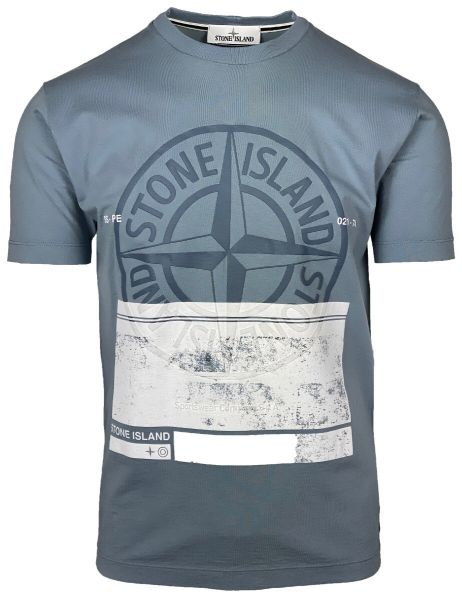 Stone Island Big Logo T-Shirt -  Grey/Blue